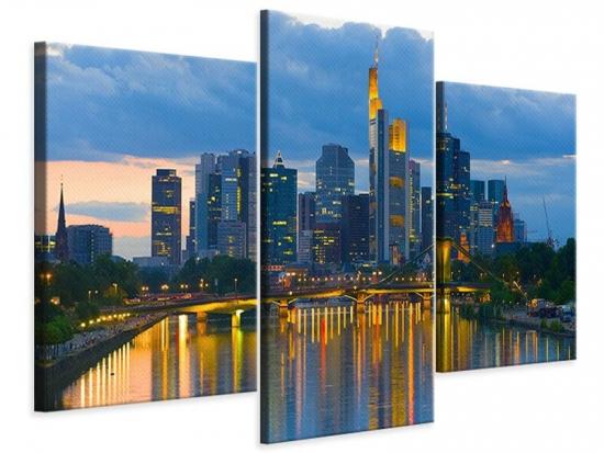 Leinwandbild 3-teilig modern Skyline Frankfurt am Main
