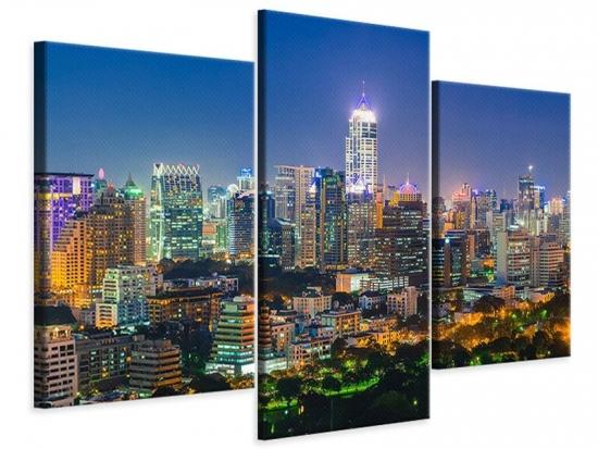 Leinwandbild 3-teilig modern Skyline One Night in Bangkok