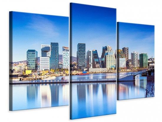 Leinwandbild 3-teilig modern Skyline Oslo 150 x 100 cm Aussenmass|(1 x 50x100 cm, 2 x 50x75 cm)