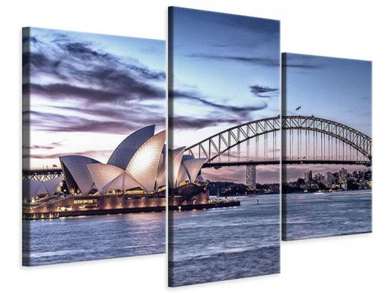 Leinwandbild 3-teilig modern Skyline Sydney Opera House