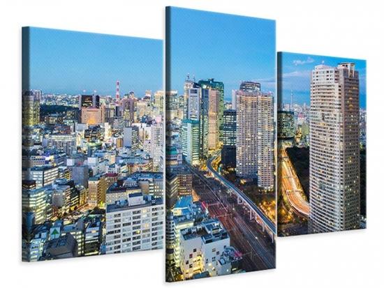 Leinwandbild 3-teilig modern Skyline Tokio im Lichtermeer
