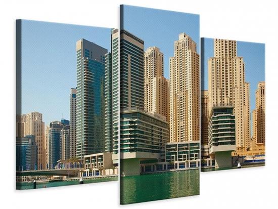 Leinwandbild 3-teilig modern Spektakuläre Wolkenkratzer Dubai