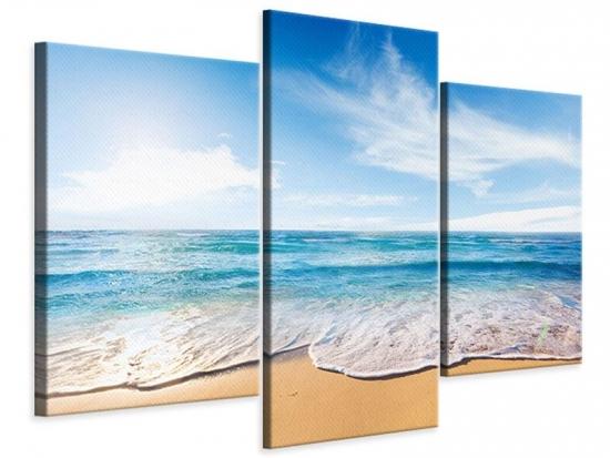 Leinwandbild 3-teilig modern Spuren im Sand
