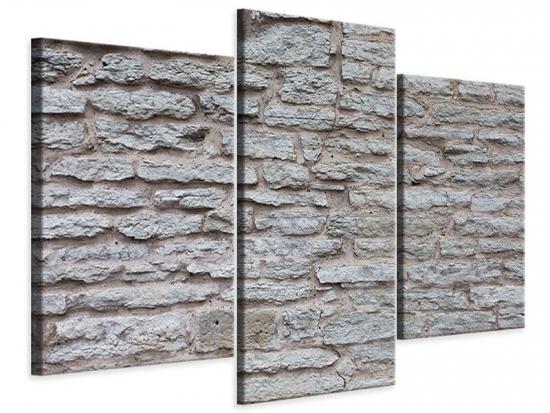 Leinwandbild 3-teilig modern Steinmauer