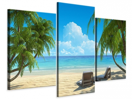 Leinwandbild 3-teilig modern Strandparadies
