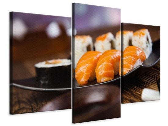 Leinwandbild 3-teilig modern Sushi-Gericht