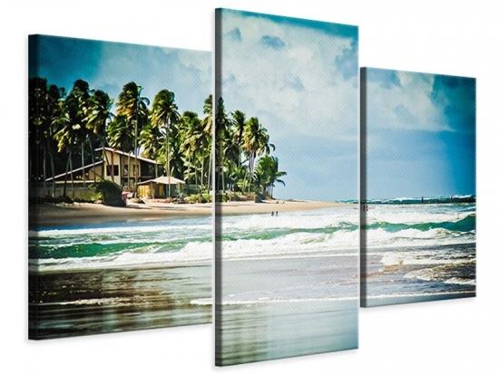 Leinwandbild 3-teilig modern The Beach