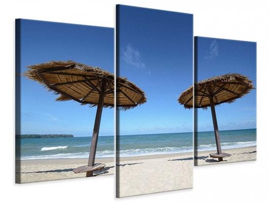 Leinwandbild 3-teilig modern Umbrellas