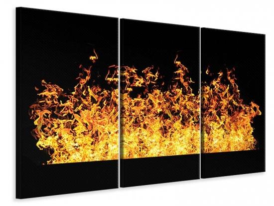 Leinwandbild 3-teilig Moderne Feuerwand