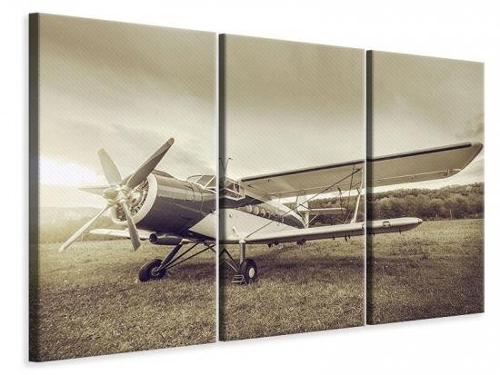 Leinwandbild 3-teilig Nostalgisches Flugzeug im Retrostyle