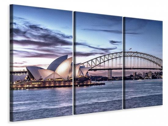 Leinwandbild 3-teilig Skyline Sydney Opera House 210 x 140 cm (3 x 70 x 140 cm)
