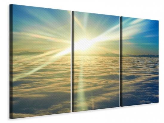 Leinwandbild 3-teilig Sonnenaufgang über den Wolken