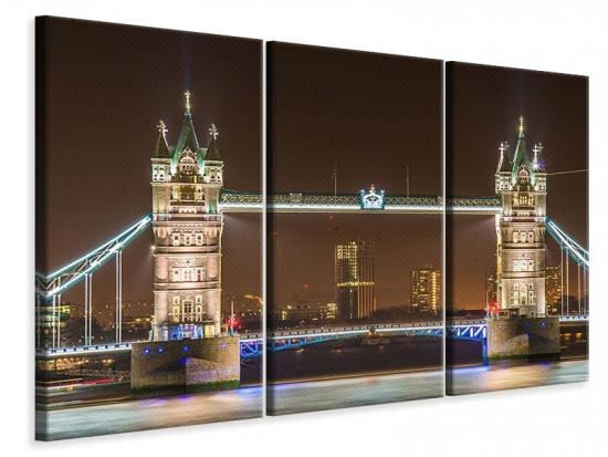 Leinwandbild 3-teilig Tower Bridge bei Nacht
