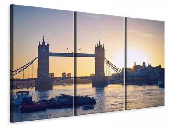 Leinwandbild 3-teilig Tower Bridge bei Sonnenuntergang