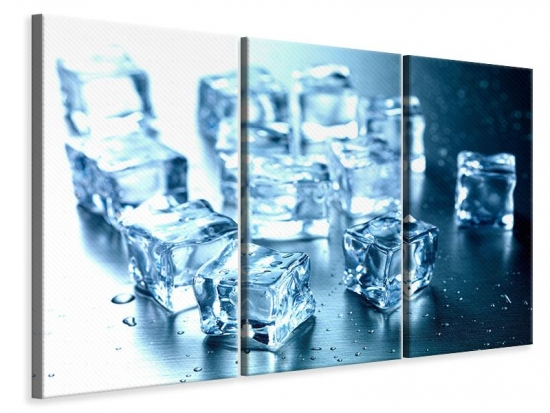 Leinwandbild 3-teilig Viele Eiswürfel