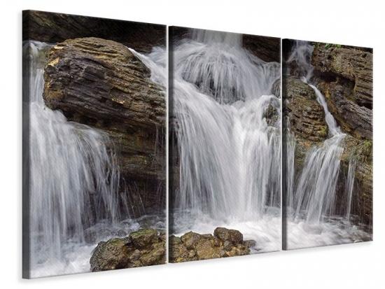Leinwandbild 3-teilig Wasserfall XXL
