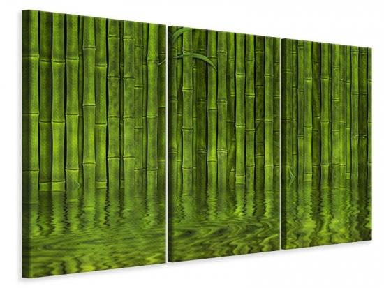 Leinwandbild 3-teilig Wasserspiegelung Bambus