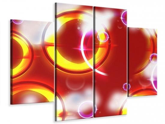 Leinwandbild 4-teilig Abstraktes Retro 200 x 150 cm Aussenmass|(2 x 50x150 cm, 2 x 50x100 cm)