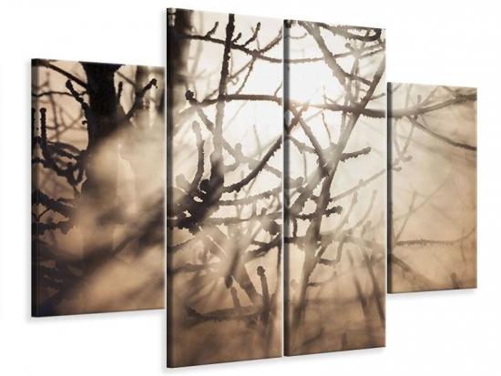 Leinwandbild 4-teilig Äste im Schleierlicht 120 x 90 cm Aussenmass|(2 x 30x90 cm, 2 x 30x60 cm)