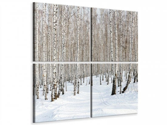 Leinwandbild 4-teilig Birkenwald-Spuren im Schnee