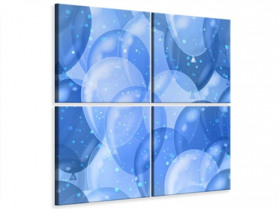 Leinwandbild 4-teilig Blaue Ballons