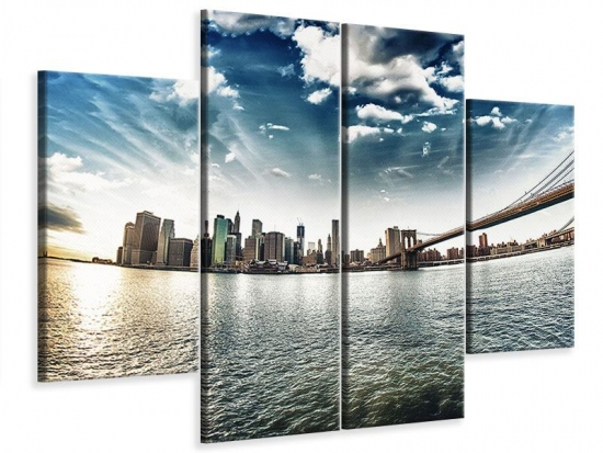 Leinwandbild 4-teilig Brooklyn Bridge From The Other Side