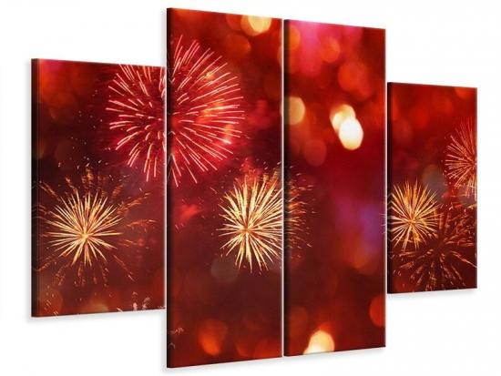 Leinwandbild 4-teilig Buntes Feuerwerk