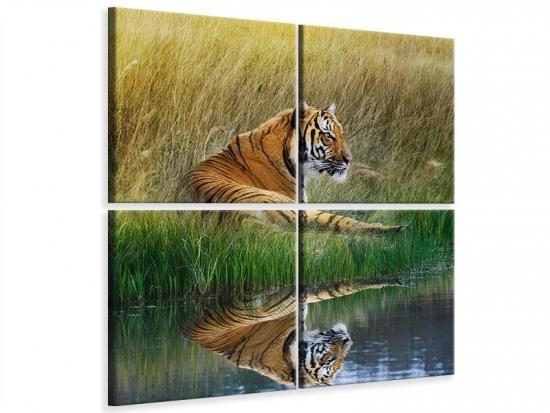 Leinwandbild 4-teilig Der Tiger