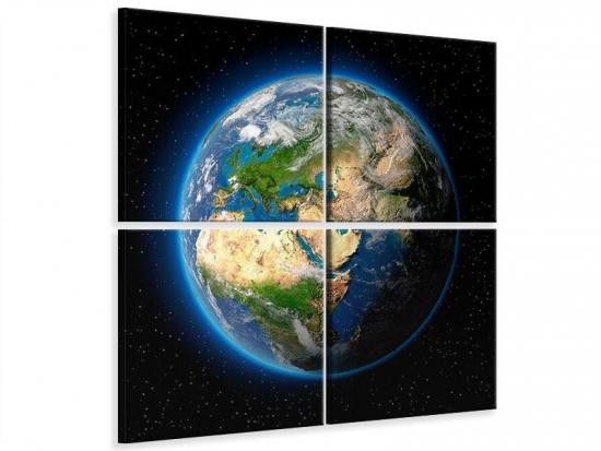 Leinwandbild 4-teilig Die Erde als Planet 100 x 100 cm (4 x 50 x 50 cm)