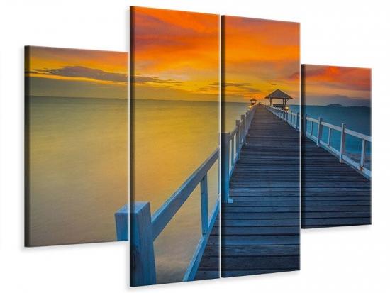 Leinwandbild 4-teilig Eine Holzbrücke im fernen Osten
