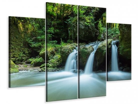 Leinwandbild 4-teilig Fallendes Wasser 160 x 120 cm Aussenmass|(2 x 40x120 cm, 2 x 40x80 cm)