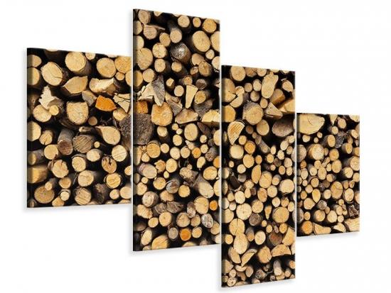 Leinwandbild 4-teilig modern Brennholz