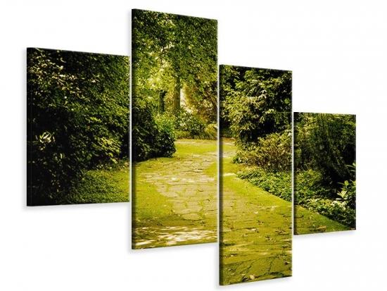Leinwandbild 4-teilig modern Der bemooste Weg 80 x 60 cm Aussenmass|(2 x 20x50 cm, 2 x 20x30 cm)