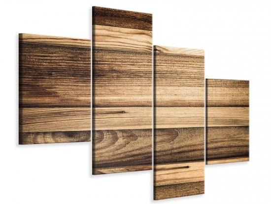 Leinwandbild 4-teilig modern Holztrend