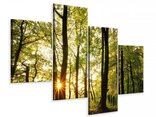 Leinwandbild 4-teilig modern Sonnenuntergang zwischen den Bäumen 120 x 90 cm Aussenmass|(2 x 30x75 cm, 2 x 30x45 cm)