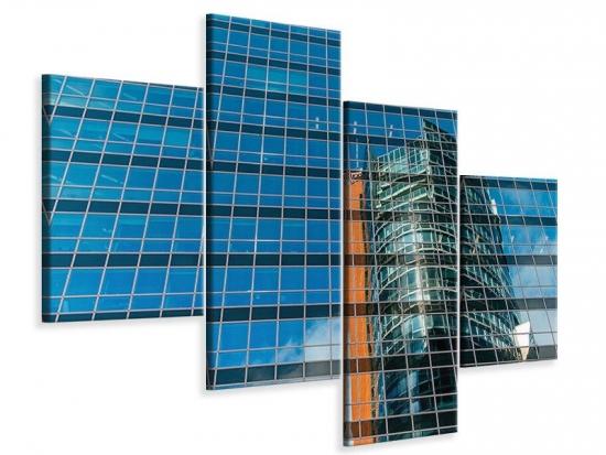 Leinwandbild 4-teilig modern Wolkenkratzer-Spiegel
