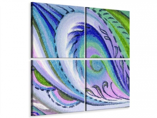 Leinwandbild 4-teilig Paisleymuster in XL