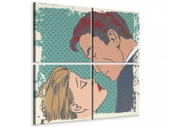 Leinwandbild 4-teilig Pop Art Liebe