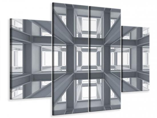 Leinwandbild 4-teilig Räume 80 x 60 cm Aussenmass|(2 x 20x60 cm, 2 x 20x40 cm)
