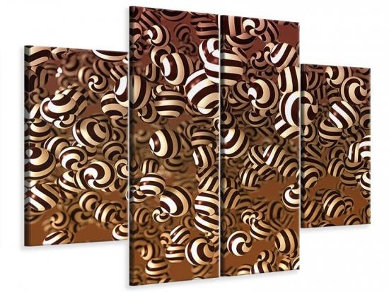 Leinwandbild 4-teilig Schokoladen-Bonbons