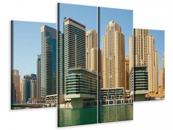 Leinwandbild 4-teilig Spektakuläre Wolkenkratzer Dubai