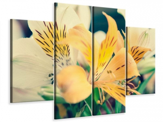 Leinwandbild 4-teilig Tigerlilien