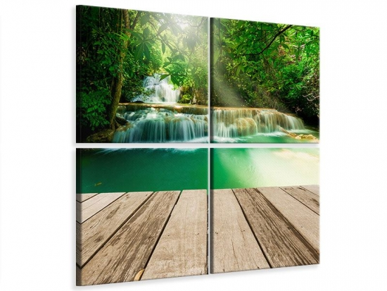 Leinwandbild 4-teilig Wasserfall Thailand