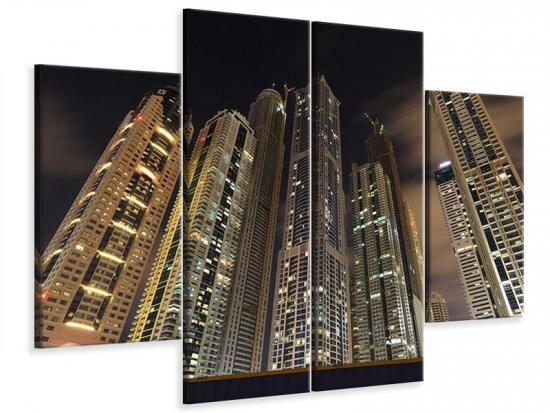 Leinwandbild 4-teilig Wolkenkratzer Dubai Marina