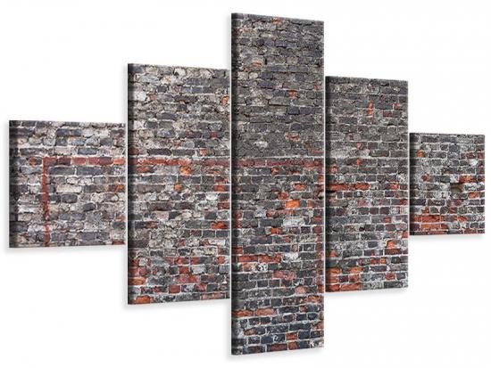 Leinwandbild 5-teilig Alte Backsteine 200 x 120 cm Aussenmass|(1 x 40x120 cm, 2 x 40x80 cm, 2 x 40x40 cm)