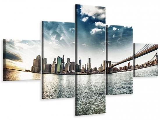 Leinwandbild 5-teilig Brooklyn Bridge From The Other Side 150 x 90 cm Aussenmass (1 x 30x90 cm, 2 x 30x60 cm, 2 x 30x30 cm)