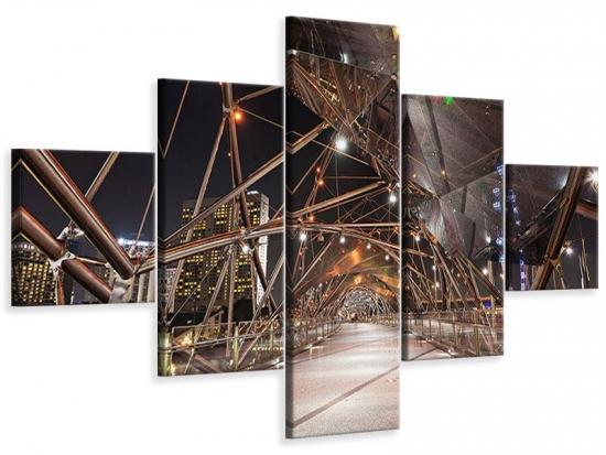Leinwandbild 5-teilig Brückenlichter