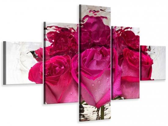Leinwandbild 5-teilig Die Rosenspiegelung