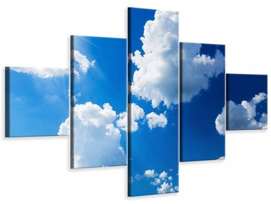 Leinwandbild 5-teilig Himmelblau 250 x 150 cm Aussenmass|(1 x 50x150 cm, 2 x 50x100 cm, 2 x 50x50 cm)