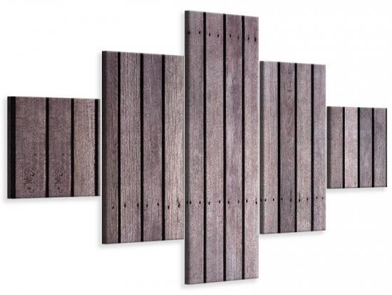 Leinwandbild 5-teilig Holzwand 150 x 90 cm Aussenmass (1 x 30x90 cm, 2 x 30x60 cm, 2 x 30x30 cm)
